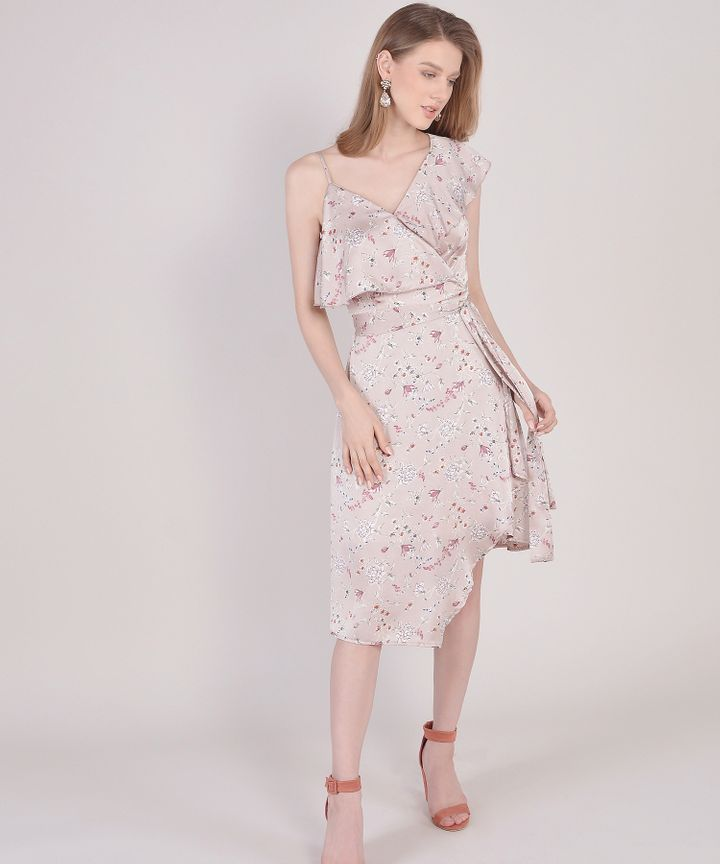 Blanchett Floral Asymmetrical Midi - Pearl Pink