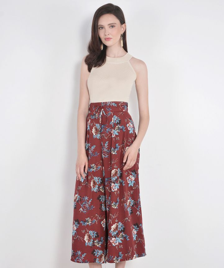 Sage Floral Palazzo Pants - Rustic Red