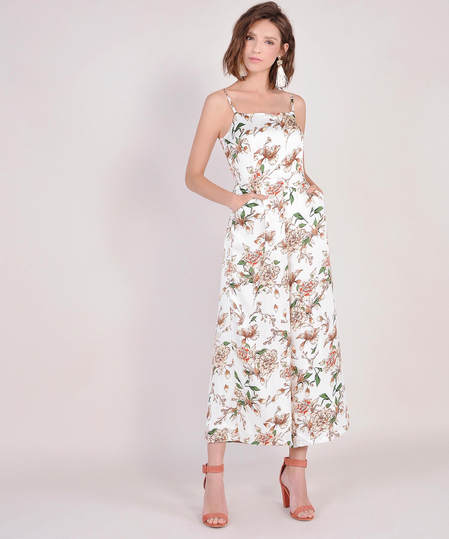 fb76861095c Glossier Floral Jumpsuit - White