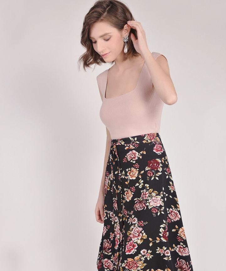 Valencia Floral Midi Skirt - Black