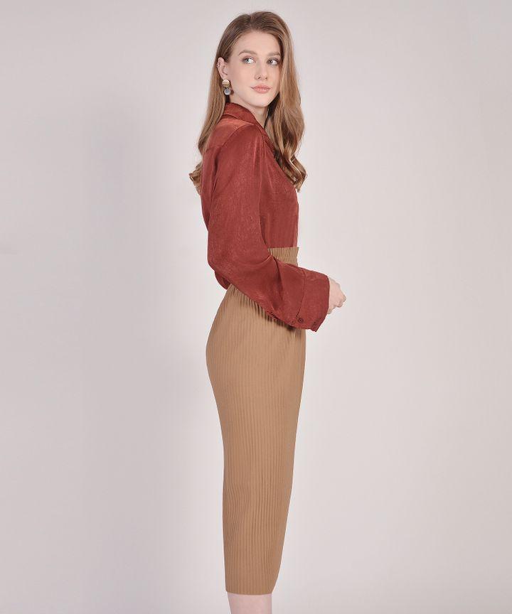 Louise Satin Blouse - Rust