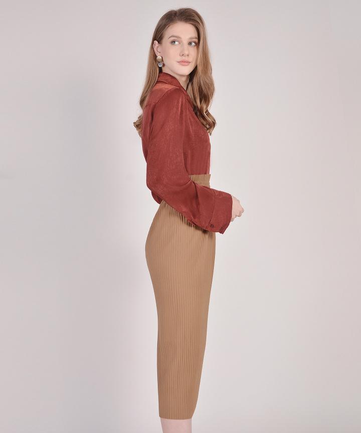 Alana Pleated Paperbag Midi Skirt - Caffe