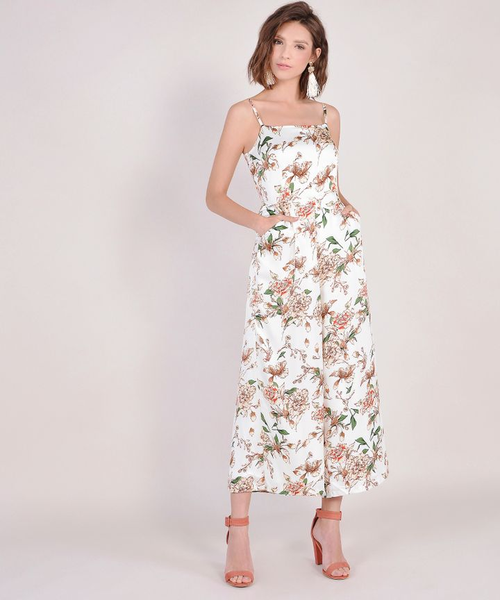 Glossier Floral Jumpsuit - White