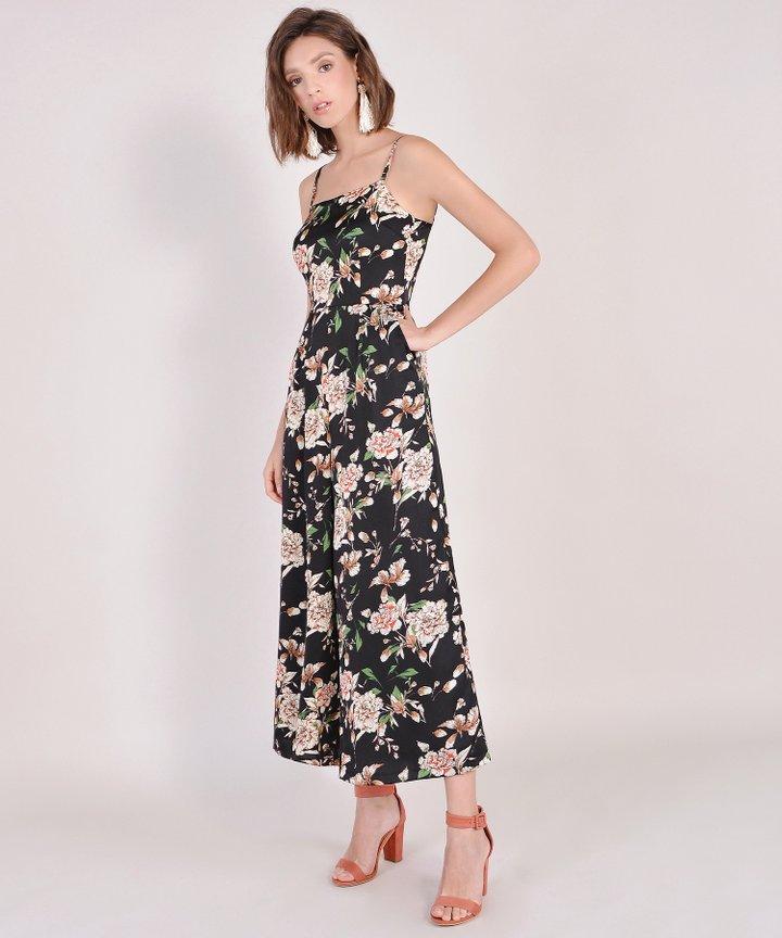 Glossier Floral Jumpsuit - Black