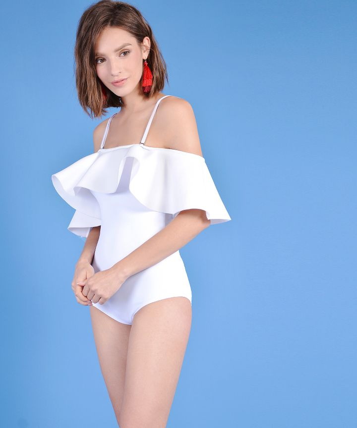 London Ruffle Swimsuit - White