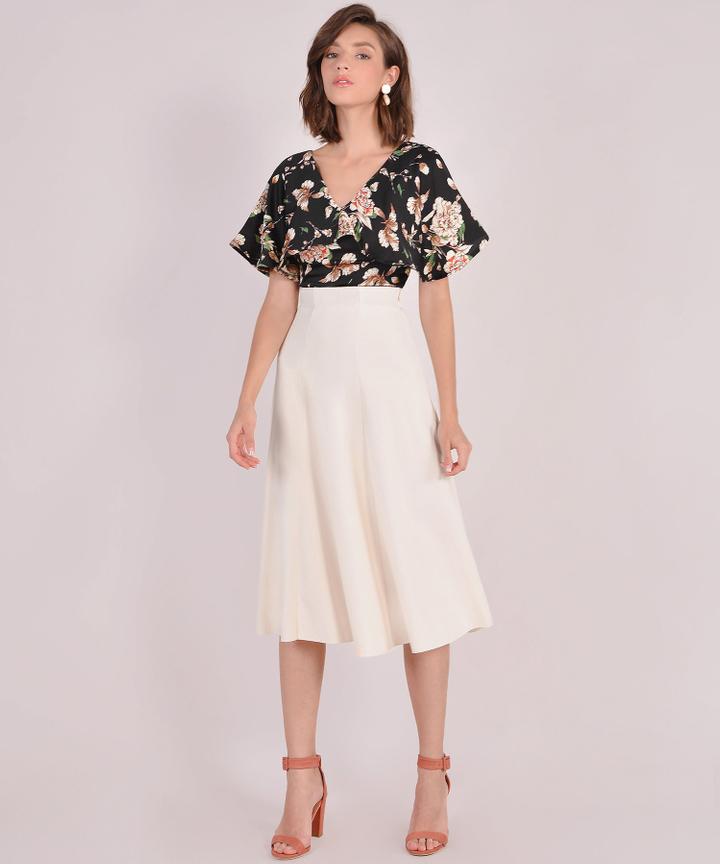 Lavina Midi Skirt - Cream