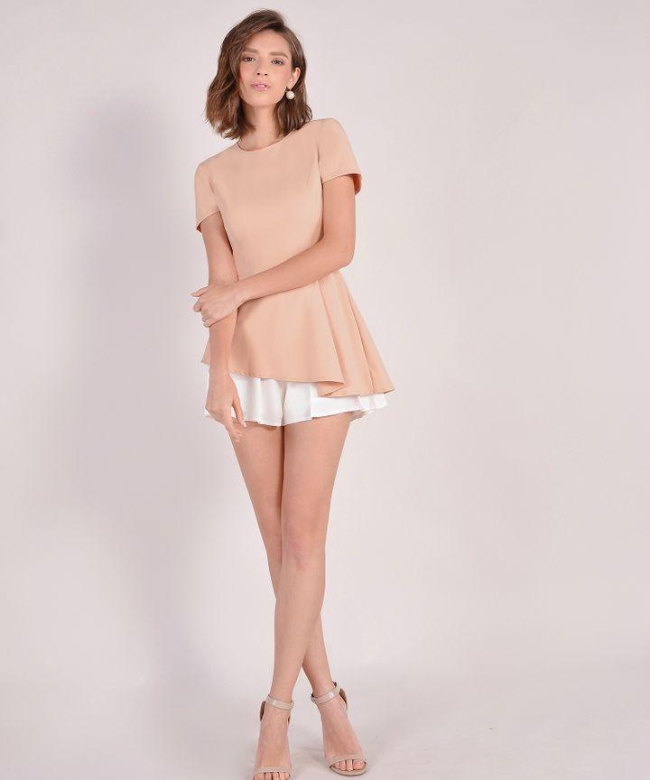 Bianca Asymmetrical Top - Pale Peach
