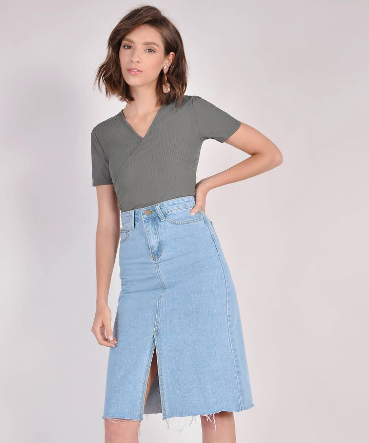 Abigail Overlay Top - Olive Grey