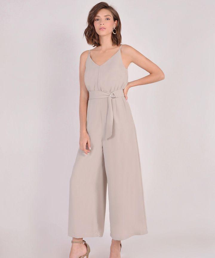Hera Belted Jumpsuit - Warm Grey