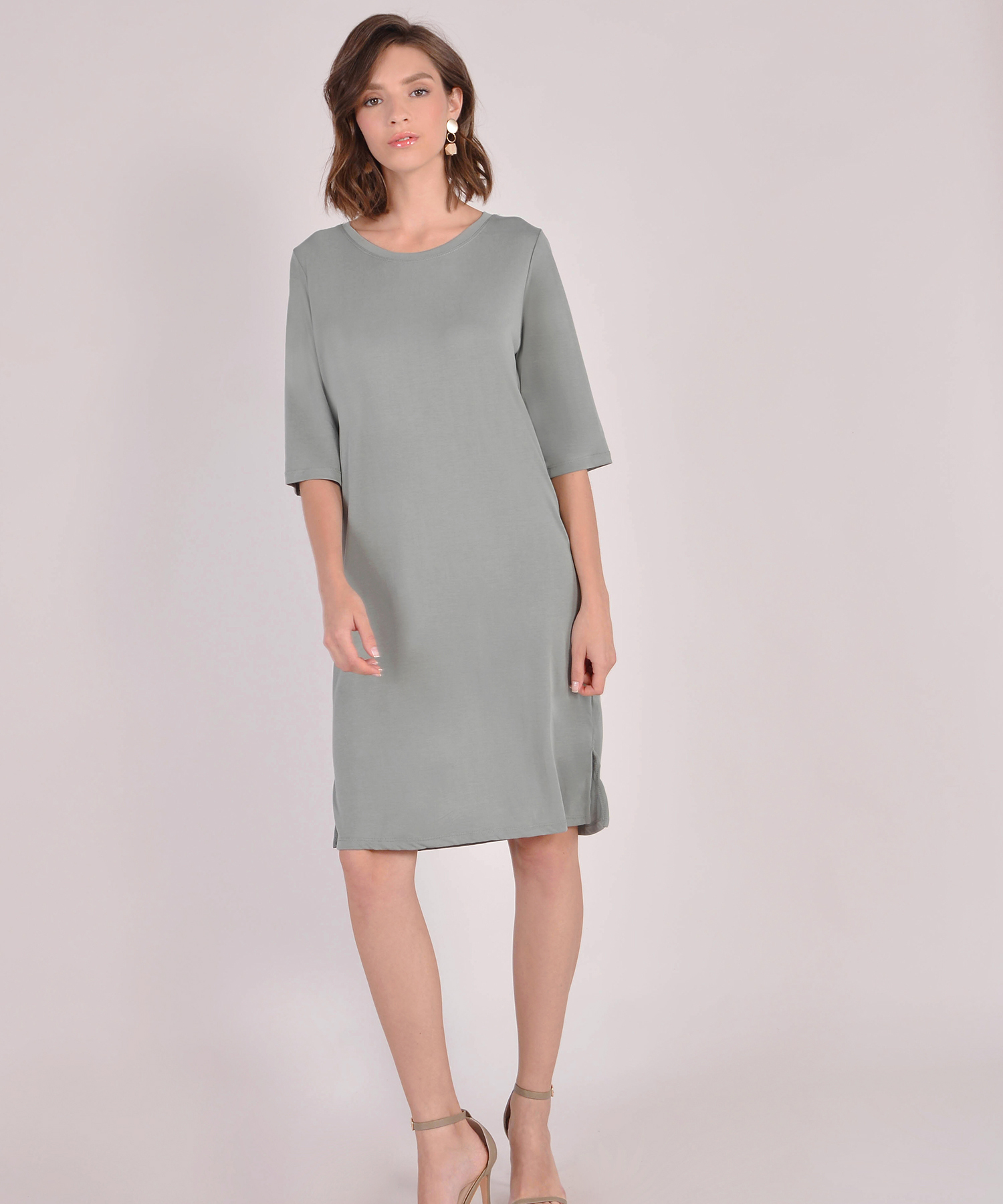 Riley Oversized T Shirt Dress Sage Grey Her Velvet Vase