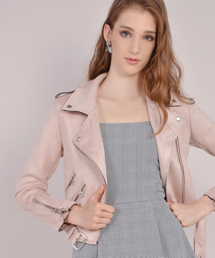 Harley Suede Jacket - Pale Pink (Restock)