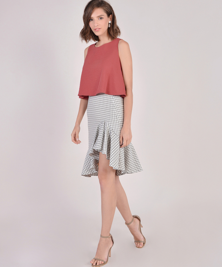 Lucia Checkered Ruffle Skirt - Cream
