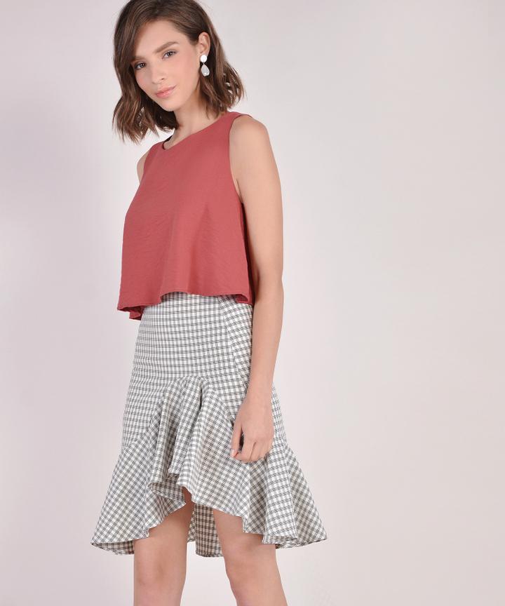 Lucia Checkered Ruffle Skirt - Cream