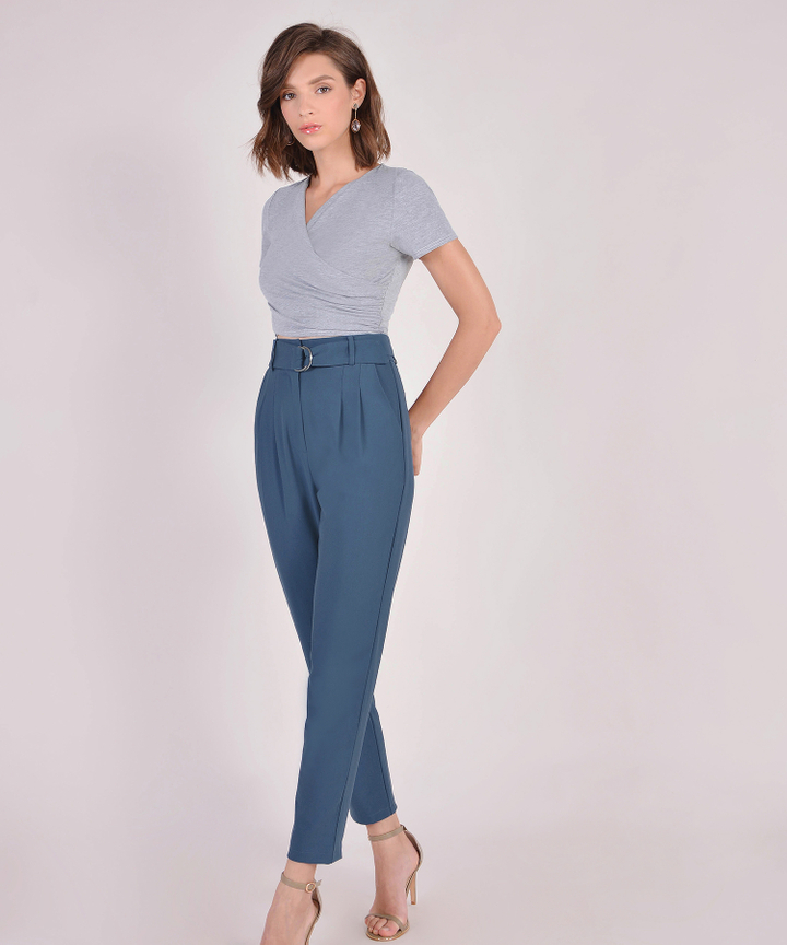 Camille Belted Trousers - Steel Blue