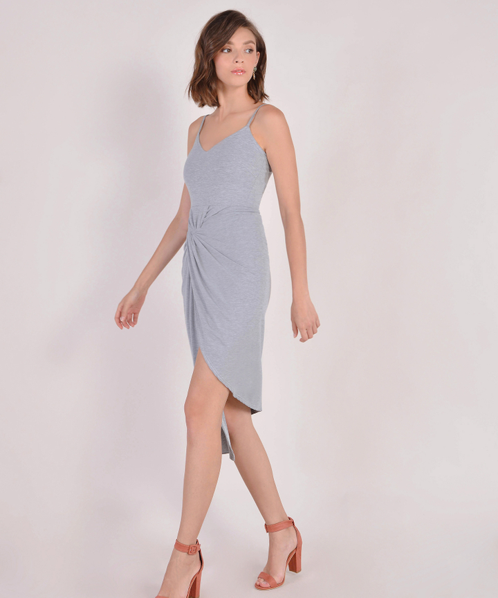Arianna Knot Midi Dress - Grey