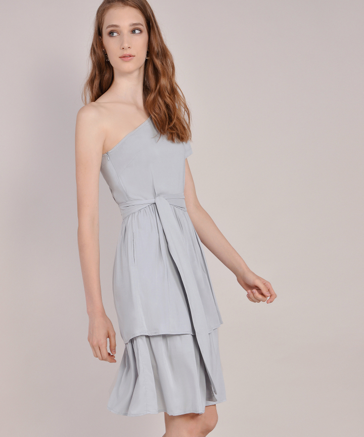 Isla Toga Tiered Midi Dress - Pale Grey