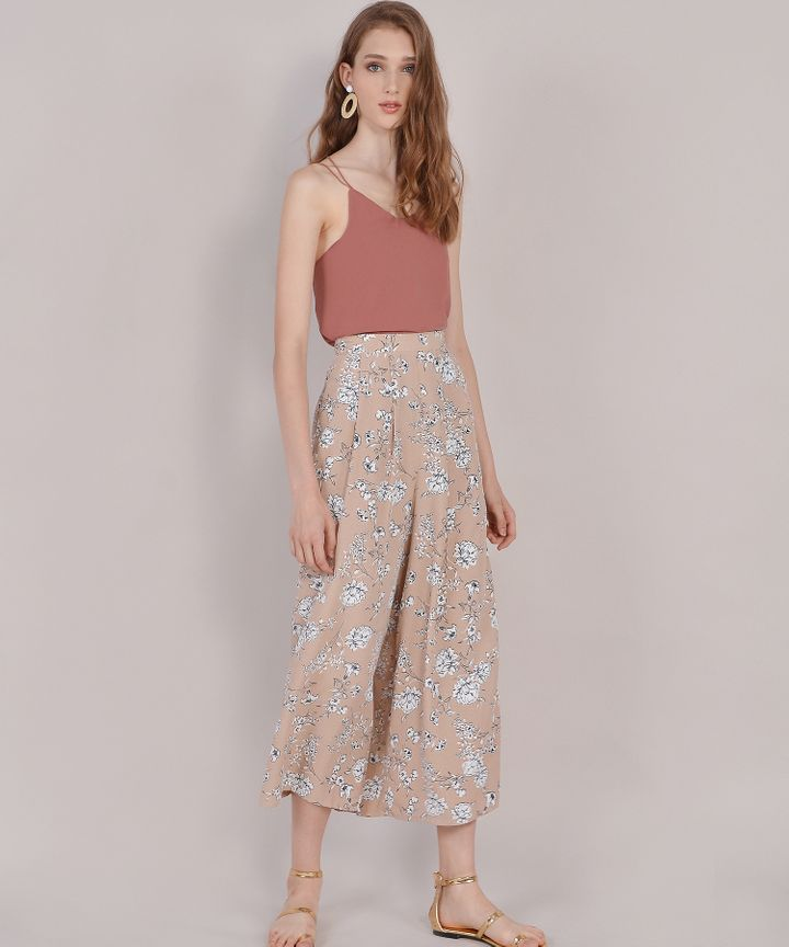 Meredith Floral Trousers - Nude