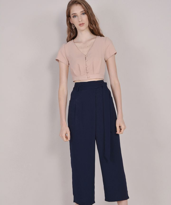 Roux Button-down Cropped Blouse - Nude Pink