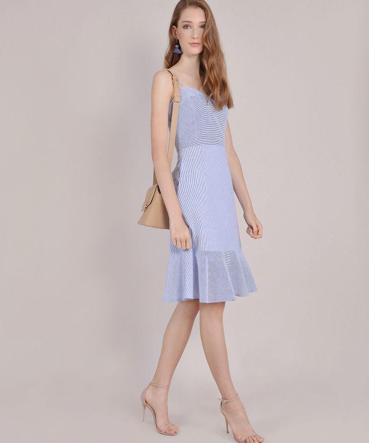Avon Striped Midi Dress - Blue