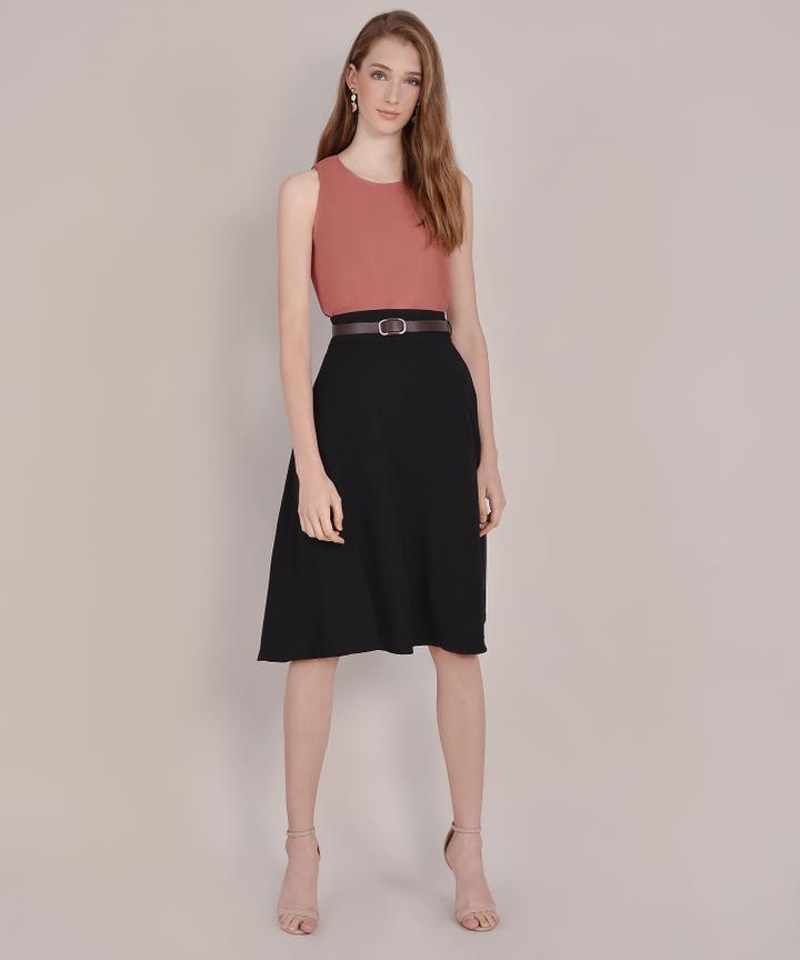Beatrix Belted Midi Skirt - Black