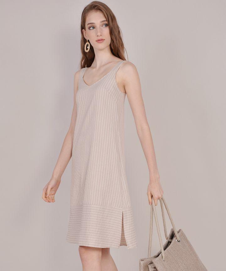 Brittany Striped Linen Midi - Tan