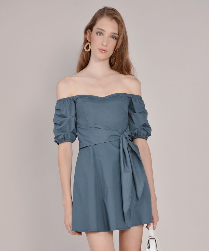 Cannes Off-Shoulder Playsuit - Dust Teal