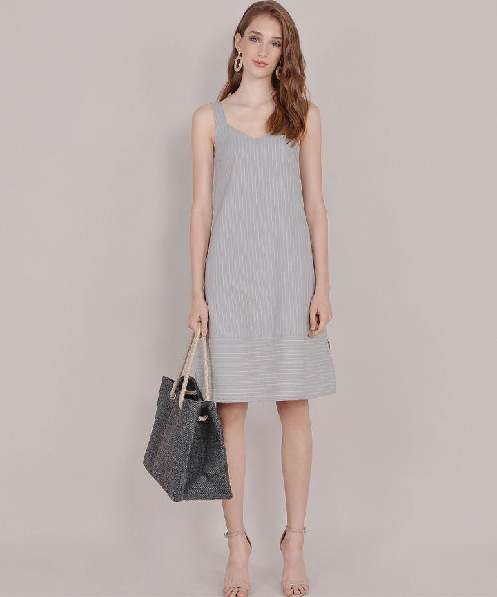 Brittany Striped Linen Midi - Grey