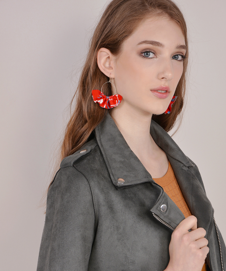 Cassia Floral Earrings - Red