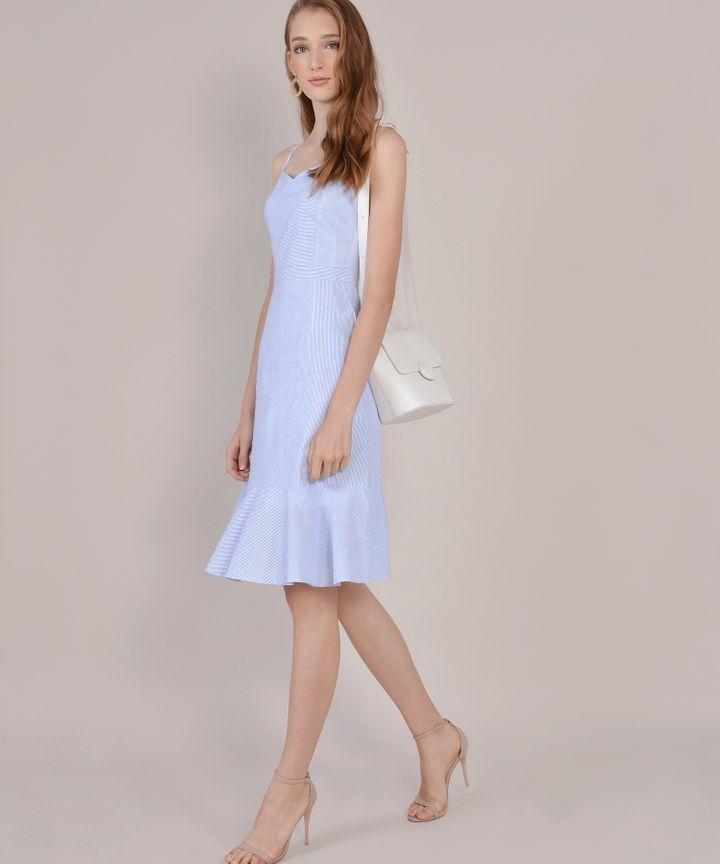Avon Striped Midi Dress - Pale Blue