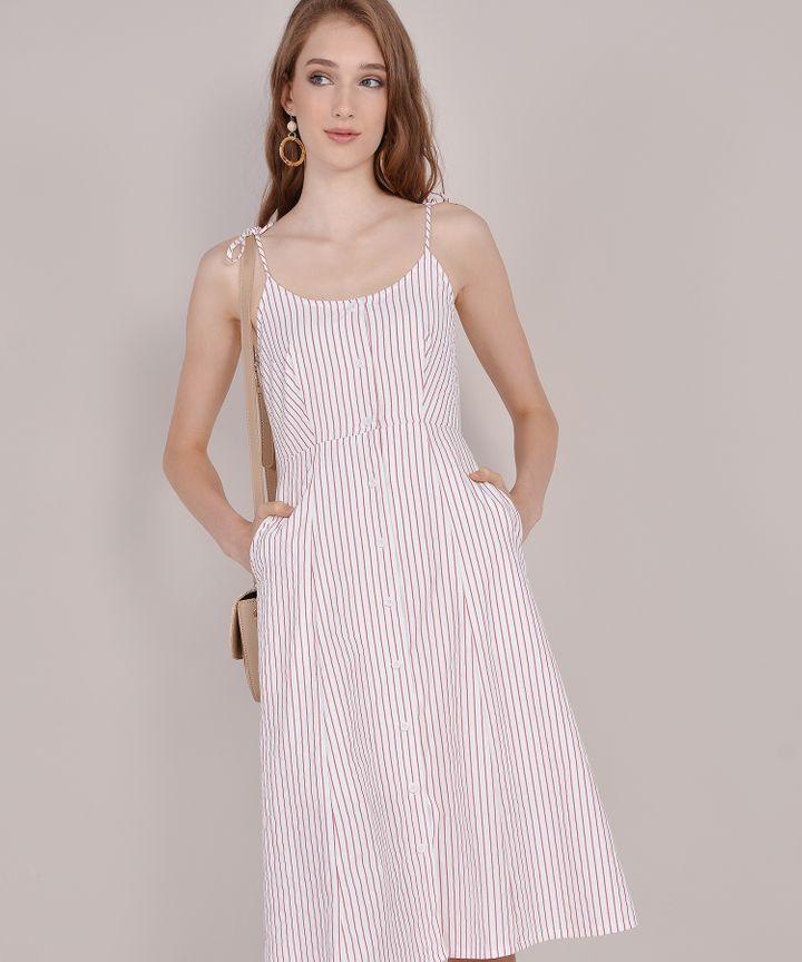 Imelda Striped Midi - Rose
