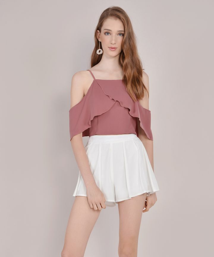 Valentina Off-Shoulder Top - Dust Rose