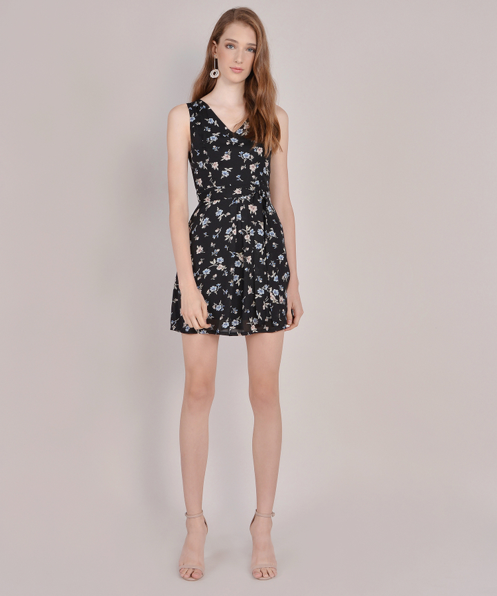 Arabella Floral Dress - Black