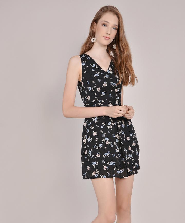Arabella Floral Dress - Black