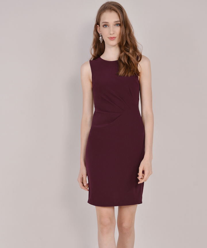 Pierre Corporate Midi Dress - Maroon