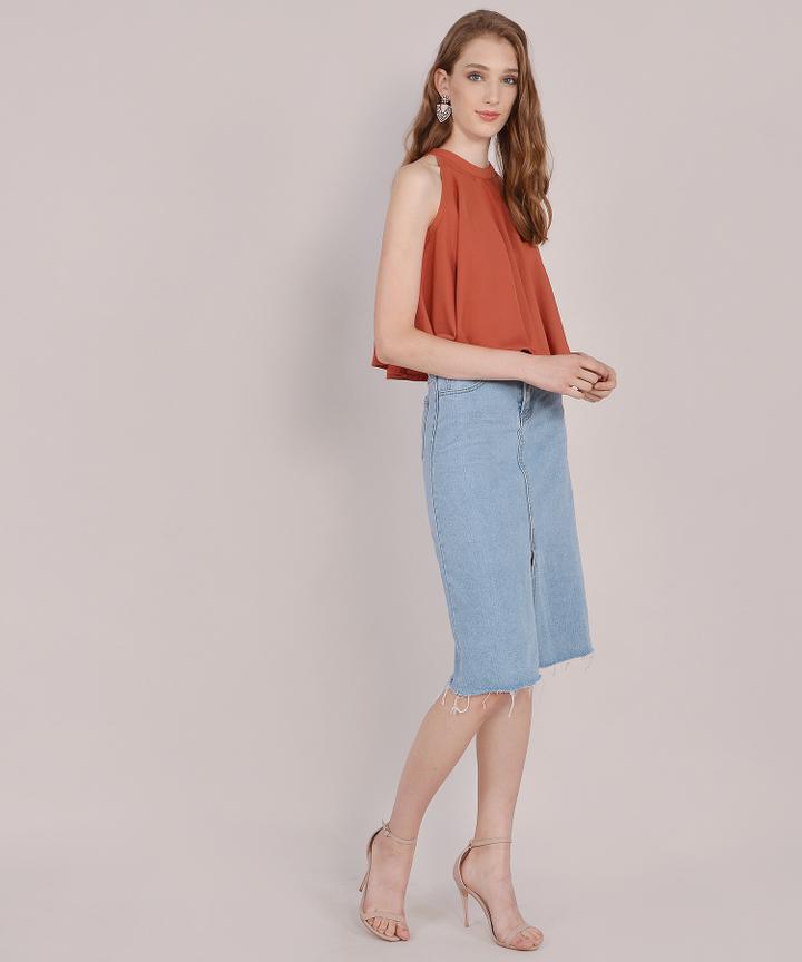 Marcella Denim Midi Skirt - Light Blue