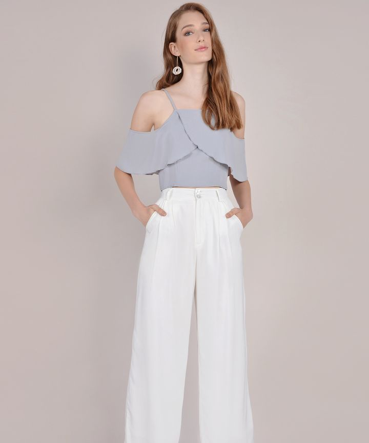Valentina Off-Shoulder Top - Pale Grey