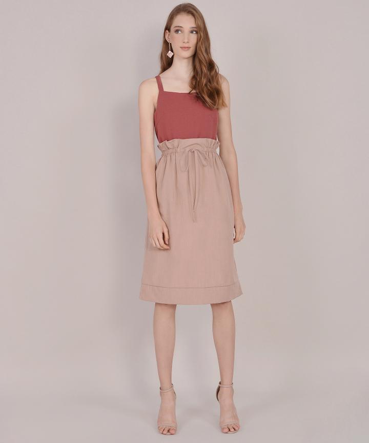 Eliza Paperbag Skirt - Rose Beige