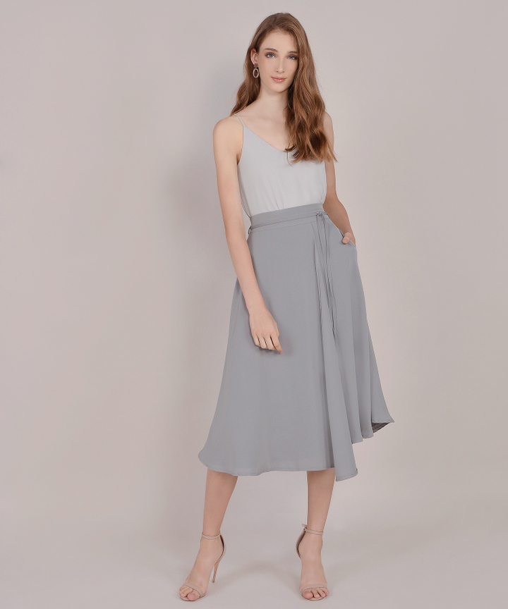 Sachi Asymmetrical Midi Skirt - Grey