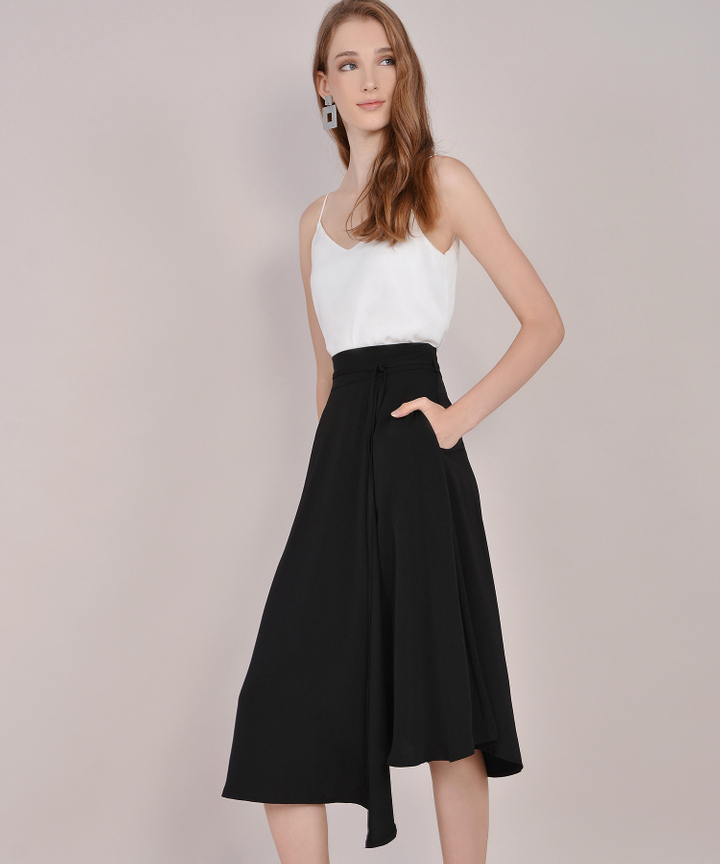 Sachi Asymmetrical Midi Skirt - Black