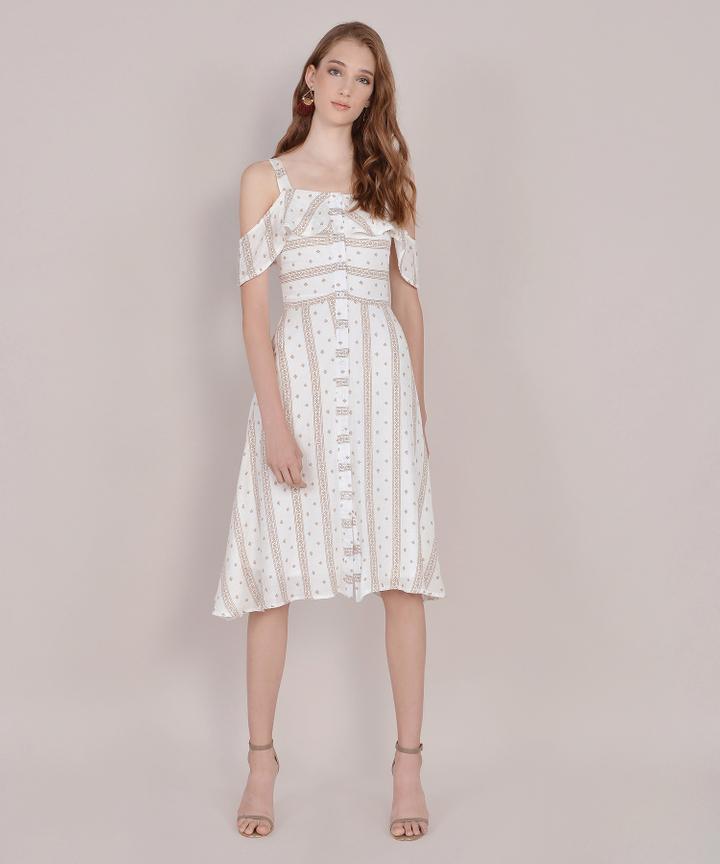 Carol Printed Dress - Khaki