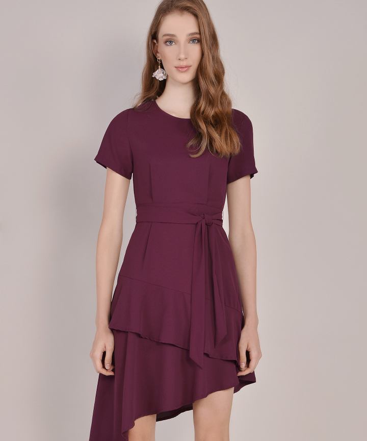 Memento Tiered Dress - Burgundy