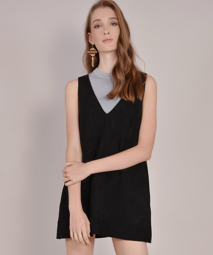 Fable Suede Pinafore - Black