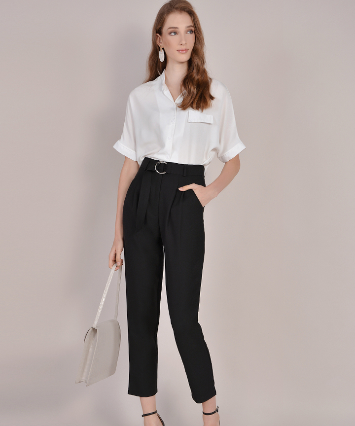 Naomi Belted Pants - Black
