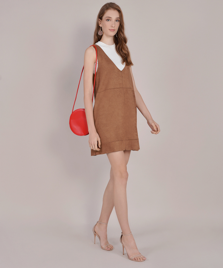 Fable Suede Pinafore - Ochre Brown