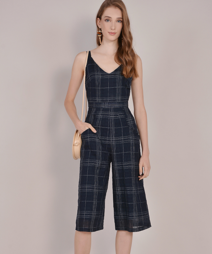 Bennett Checkered Jumpsuit - Navy