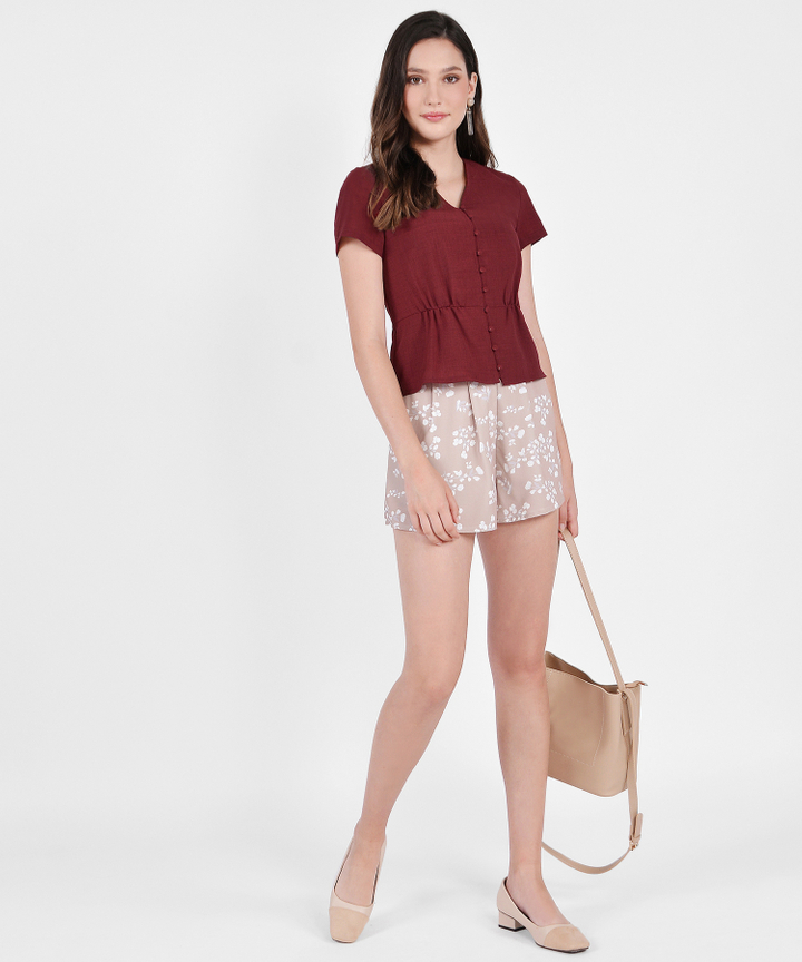 Anthea Floral Shorts - Champagne Gold
