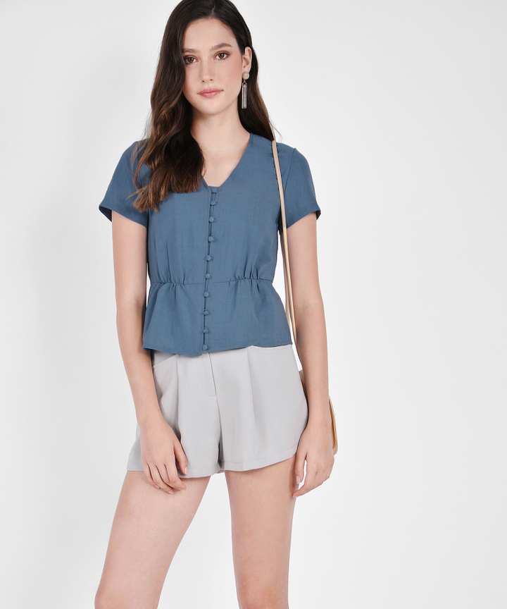 Laura Belted Shorts - Sage Grey