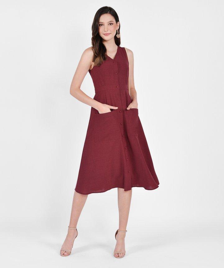 Elodie Button-Down Linen Midi - Ruby