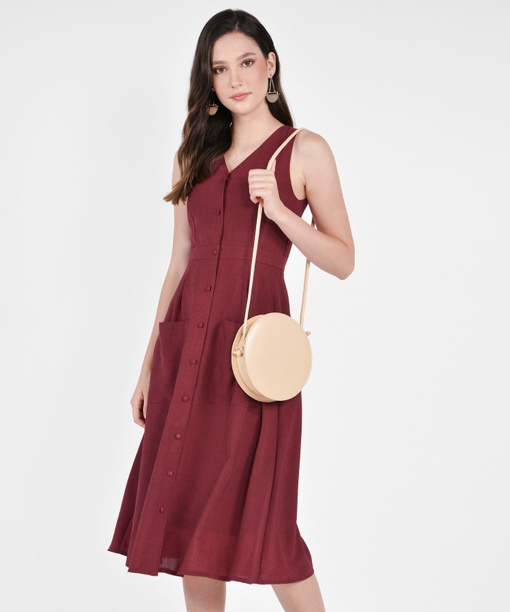 Elodie Button-Down Linen Midi - Ruby
