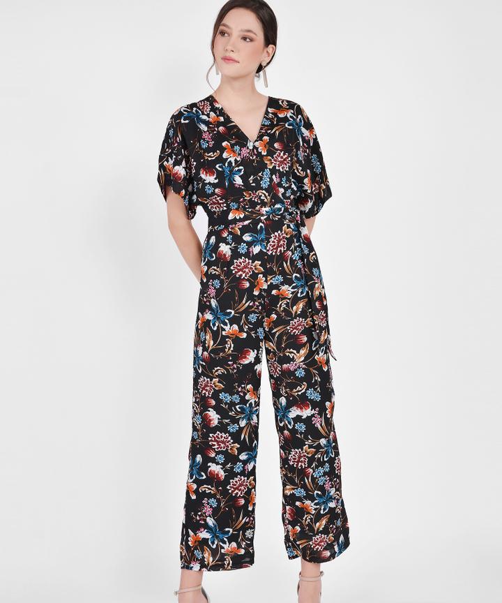 Hana Kimono Floral Jumpsuit - Black